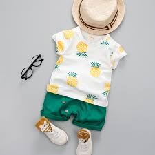 <b>Baby Boys Girls Summer</b> Clothes Fashion Cotton Set Printed Fruit ...