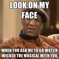 Look on my face When you ask me to go watch Wicked the musical ... via Relatably.com