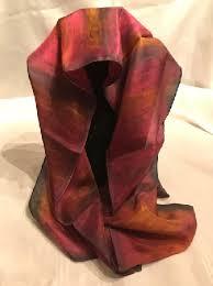 <b>hand painted</b> silk scarf,colorful,<b>abstract</b>,<b>black</b>,