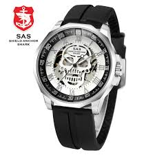 SAS Shield Anchor Shark Watch Men Clock <b>Mechanical Skull</b> ...