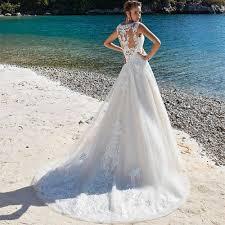 <b>SoDigne</b> Lace <b>Wedding Dress</b> Applique Sleeveless Illusion Beach ...