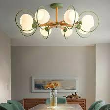<b>Nordic Glass</b> Globe Modern <b>Wooden</b> LED Light <b>Chandelier</b> Ceiling ...