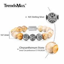 A <b>Natural Chrysanthemum Stone Beads</b> Bracelet 925 Sterling Silver ...
