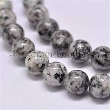 Natural Sesame Jasper Beads Strands, Round, Gray, <b>6mm</b>, Hole