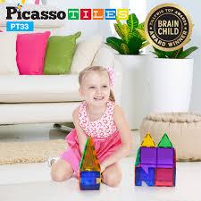 toddler building blocks picassotiles 33 piece designer artistry set clear 3d magnet building blocks tiles