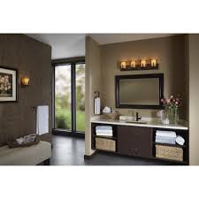black polished nickel wal lights over black stained wooden frame wall mirror combined with dark brown bathroom vanity lighting ideas combined