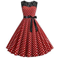 Highpot <b>Women'S</b> Vintage Lace <b>Sleeveless Polka Dot</b> 1950S ...