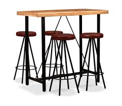 vidaXL <b>Bar Set 5 Pieces</b> Solid Acacia Wood and Genuine Leather ...