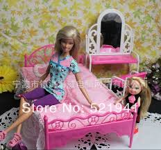 free shipping doll bed furniture accessories for barbie dollgirls play toysbest bedroom furniture barbie ken
