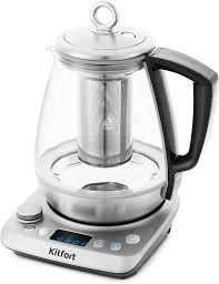 Купить <b>электрический чайник Kitfort</b> КТ-<b>669</b>, Металл/стекло ...