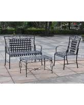 international caravan wrought iron settee patio set black size 3 piece sets black wrought iron outdoor furniture
