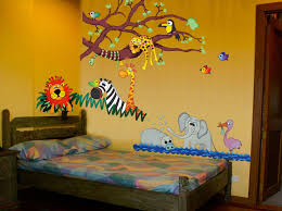 charming cute animal zoo wallpaper kids bedroom design inspiration with contemporary textured grey wood bed combined with colorful cozy abstract bed linen charming kid bedroom design