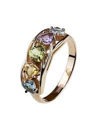 Золотое <b>кольцо с хризолитом</b>, <b>цитрином</b>, аметистом и топазом ...