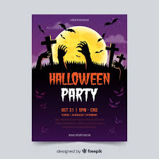 Download free <b>Halloween</b> party poster template with <b>zombie hands</b> ...