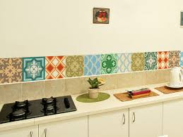 blue tile stickers decals kitchen backsplash tiles