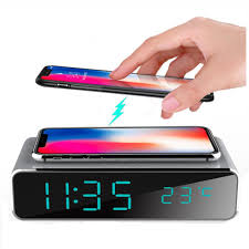 Electric <b>LED alarm clock</b> with phone wireless charger Desktop ...