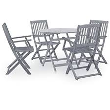 Tidyard <b>5 Piece Garden Dining</b> Set Wooden Folding 5 Pieces ...