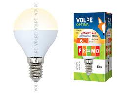 <b>Volpe LED</b>-<b>G45</b>-<b>6W</b>/<b>WW</b>/<b>E14</b>/<b>FR</b>/DIM/<b>O</b> картон (10700) - <b>Лампочки</b>.ру