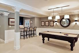 good looking billiard lights in basement transitional with low basement ceilings next to basement bar alongside game room and gray walls billiard room lighting
