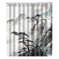 <b>WONZOM</b> Landscape Painting Polyester Fabric <b>Shower</b> Curtain ...