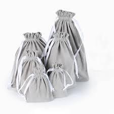 Gray Velvet Bag <b>Custom Logo</b> Print Pouch <b>Drawstring Bags</b> For ...