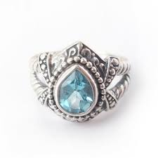 Sz 7 Blue Topaz <b>925 Solid Sterling</b> Silver Bali Ring for Christmas Gift