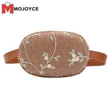 MOJOYCE Vintage Lace Flower Decor <b>Women Straw Waist Fanny</b> ...
