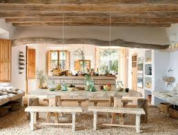 country living room ci allure: rustic italian decor dining room with wooden table and benches pendant lights eposed beams