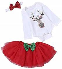 SUPEYA <b>Baby Girl Christmas</b> Deer <b>Rompers</b> Tulle Dress Bow ...