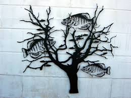 tree scene metal wall art:  crappie bush