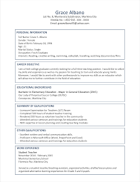 sample resume format objective in resume for fresh graduate sample resume format