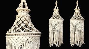 Macrame Hanging Lamp Shade Tutorial   DIY Home Decor ...