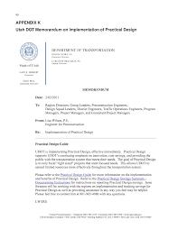 appendix k utah dot memorandum on implementation of practical page 90