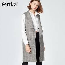 2019 <b>Artka 2017 Autumn&Winter</b> Turn Down Collar EleVintage Long ...