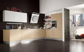 kitchen modern cabinets designs: minimalis kitchen cabinets design light colored cabinets dark kitchen flooring white painted walls brown accent