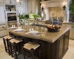 countertops dark wood kitchen islands table: eat in kitchen island with tan granite counters