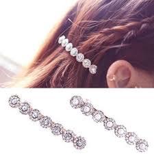 <b>1 PC Luxury</b> Inlay <b>Zircon</b> Crystal Pearl Pin Clip Hair a Word Hairclips ...