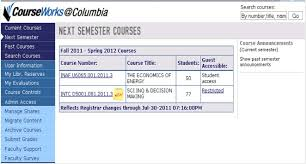 Courses on CourseWorks and New CourseWorks     CourseWorks News Columbia Blogs   Columbia University My Courses screen