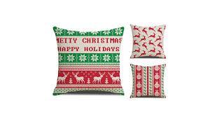 3Pcs <b>Christmas Elk</b> Snow Pillow Cover Lattice <b>Printed</b> Linen ...