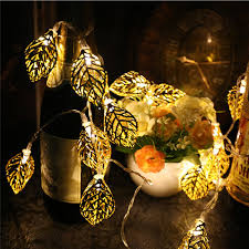 Hollowed <b>Gold Leaf LED</b> Outdoor Light String Fairy Garland Battery ...