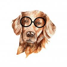 Brown <b>watercolor dog with glasses</b> Vector | Premium Download