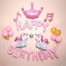 <b>21pcs</b>/<b>Set</b> Unicorn Balloons Purple <b>Pink</b> Latex Balloon Heart Foil ...
