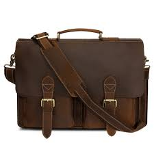 Kattee Handmade Genuine Leather <b>Laptop Briefcase Messenger</b> Bag
