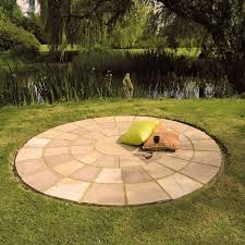 patio slab sets: brett paving riven sandstone creative modak paving circle feature kits