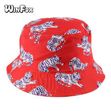 <b>Winfox 2018 New</b> Fashion Summer Reversible Orange Tiger Bucket ...