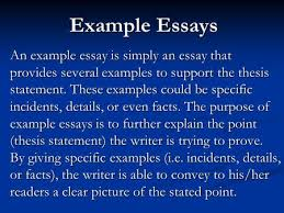 for academic english  self assessment questions for essay  example essays an example essay is simply an essay that provides several examples to support the