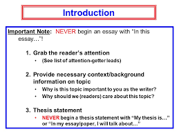 """essay writing expository writing  opinion essay  expository essay    introduction important note  never begin an essay   """"in this essay…"""""""