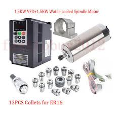 1.5KW CNC ER16 Spindle Motor Water Cooled <b>24000RPM</b>+VFD ...