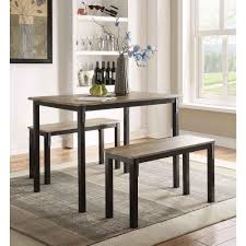 three piece dining set: boltzero  piece walnut and black dining set
