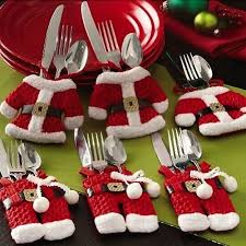 cheap christmas decor: happy new year fancy santa christmas decorations silverware holders pockets dinner table decor hot sale discount